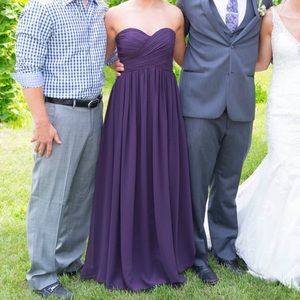 Plum Strapless Bridesmaid Dress Unaltered